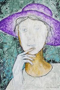 NEW Original Painting Girl With A Violet Hat, by Ben Gertsberg